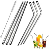 Stainless Steel Straws , Reusable Metal Drinking Straws for 30Oz 20 Oz Yeti Tumbler Rambler Cups(3 Straight+3Bent+1Brushes)