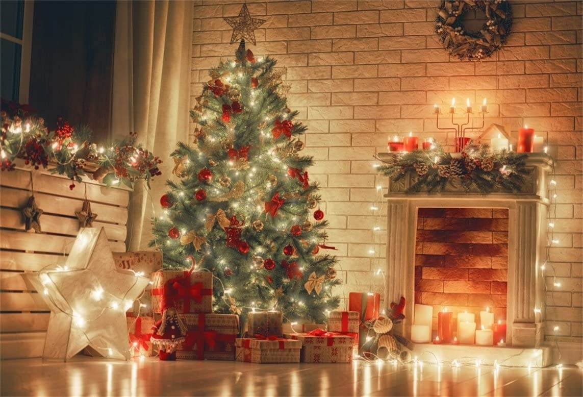 Christmas Theme Backdrop Vinyl 10x7ft Warm Wooden House Indoor Decorated Xmas Tree Red Gifts Clock Xmas Wreath Fireplace Vintage Photoframe Background Xmas Party Banner Child Baby Shoot