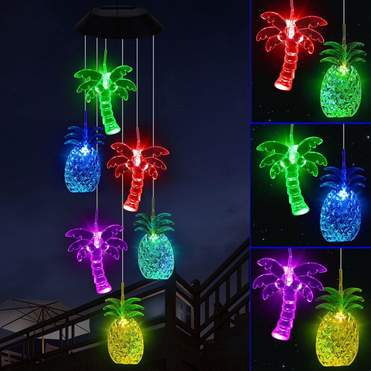 YMXBL Palm Tree Pineapple Wind Chime Solar Color Changing Palm Trees Wind Chimes Outdoor Decor Waterproof Solar Powered Pineapple Light Romantic Wind Chime Gifts for Women Home Patio Garden Decorative