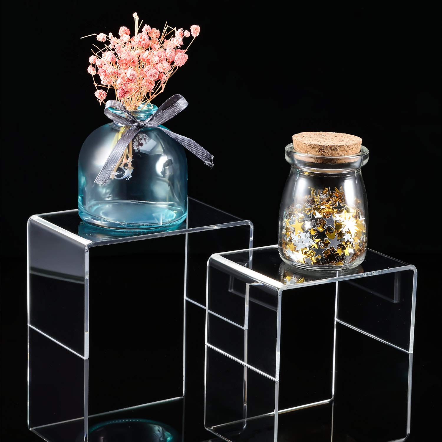 Chuangdi 4 Pieces Clear Acrylic Display Risers, Jewelry Display Risers Showcase Fixtures, Tear Off The Protective Film Before Use (4.1 Inch and 5 Inch) by Chuangdi (Image #5)
