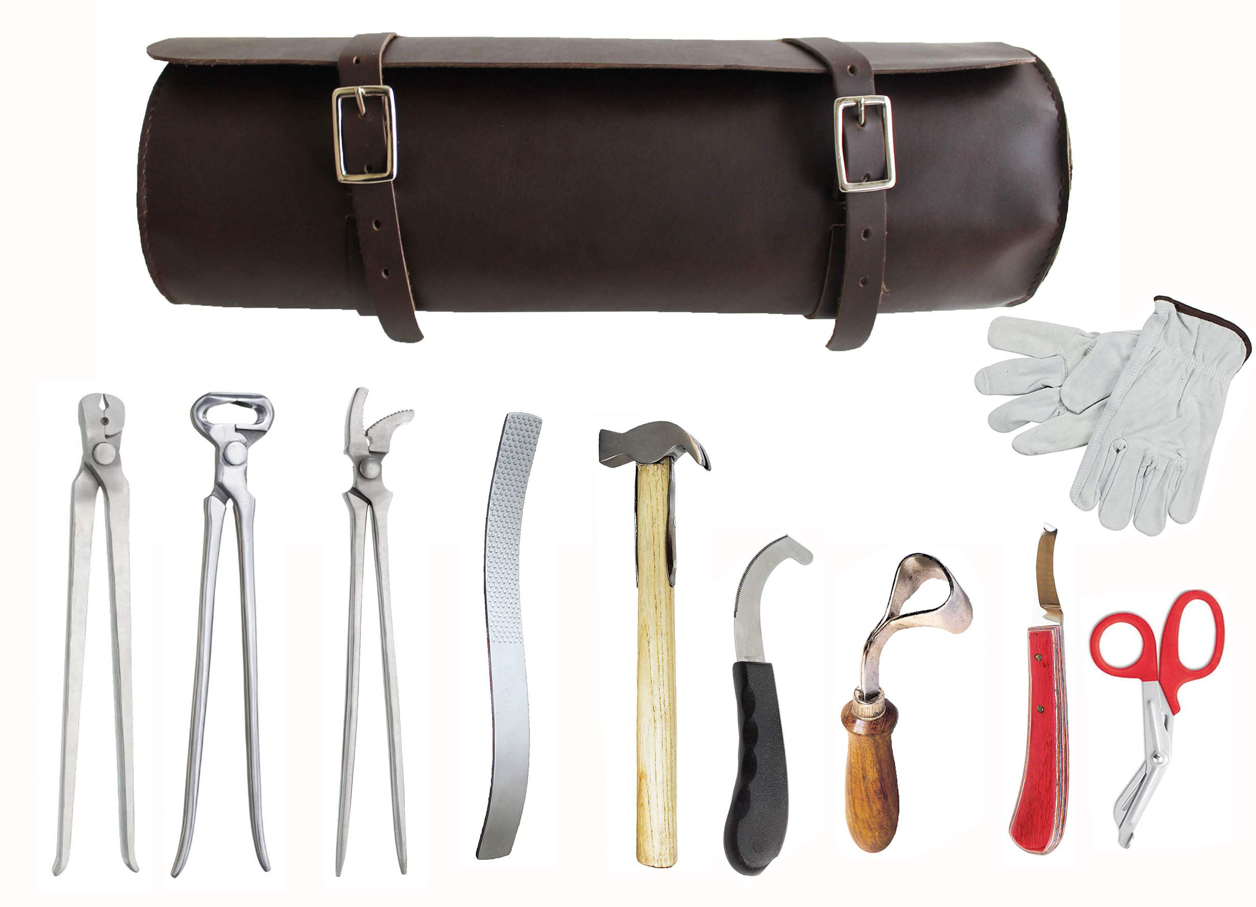 ProRider USA 10 Piece Horse Shoe Farrier Hoof Grooming Tool Nipper Kit w/Leather Bag 98499C