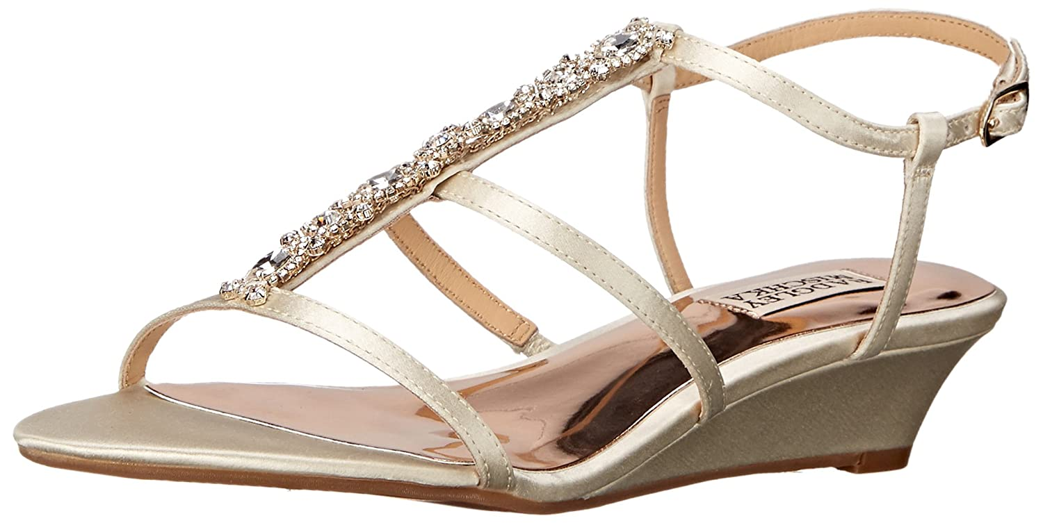 Badgley Mischka Women's Carley Wedge Sandal B0174AASY6 6.5 B(M) US|Ivory