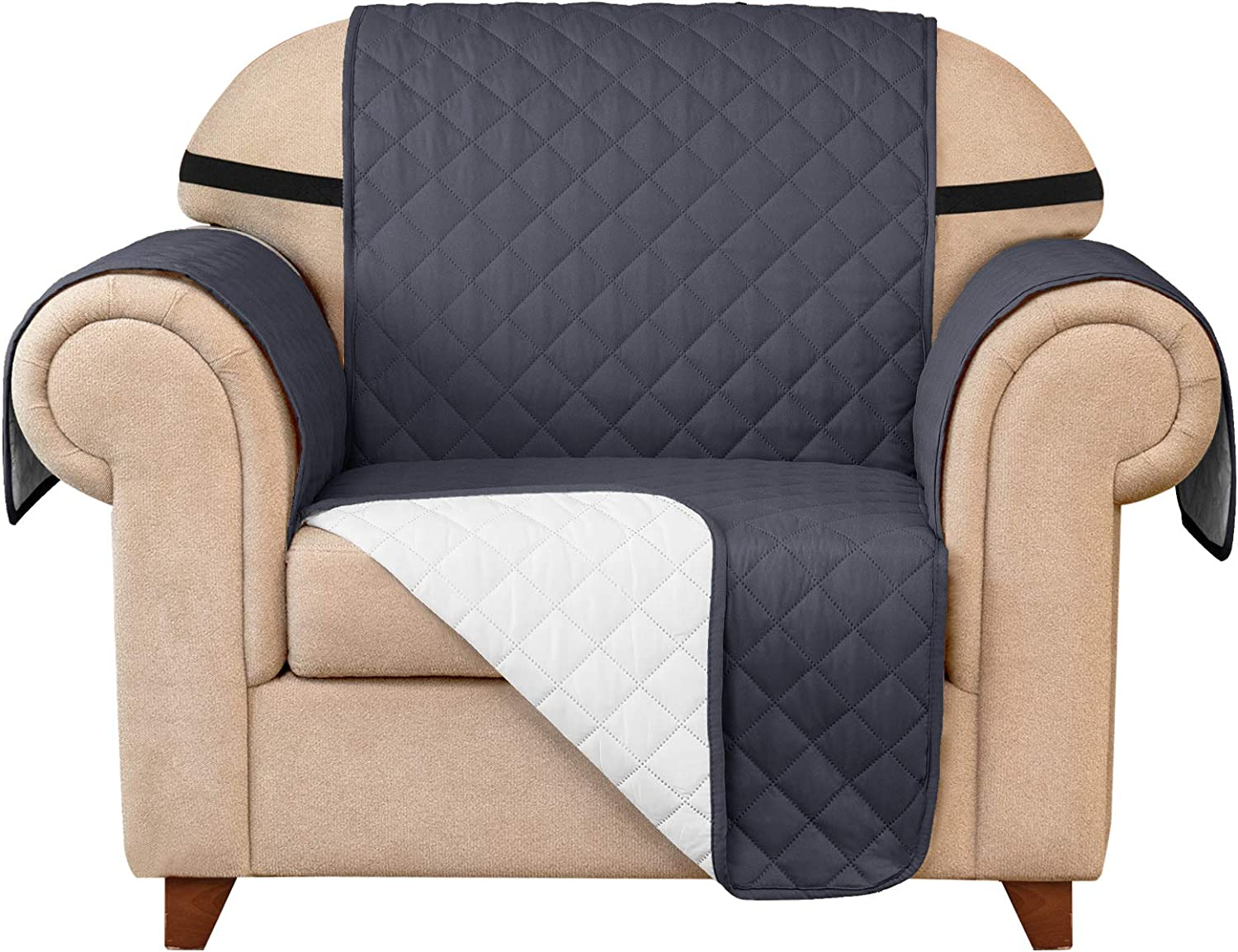 Subrtex Quilted Reversible Sofa Couch Slipcover Anti-Slip Furniture Protector Covers for Pets and Kids with Elastic Straps (Chair, Gray)