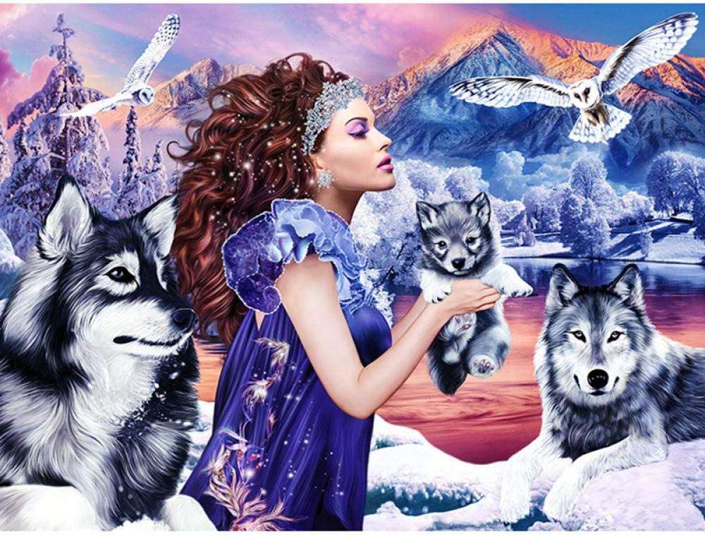 Diamond Painting Kit Completo DIY 5D Kits de Pintura de Diamantes Pintura Cristal Rhinestone Bordado Decoración Artes, Bordado de Diamantes-Iceberg Wolf Girl(Sin marco)