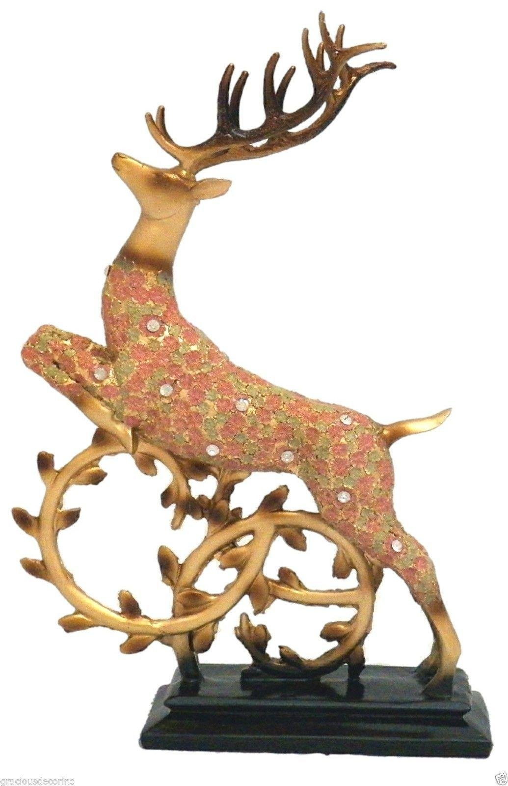 Collectible Reindeer Figurine Christmas Winter Home Decor Stag Animal Antlers