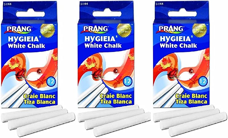 Prang Hygieia Chalk 12 Count 3.25 x 0.375 Inch Chalk Sticks 31144 White