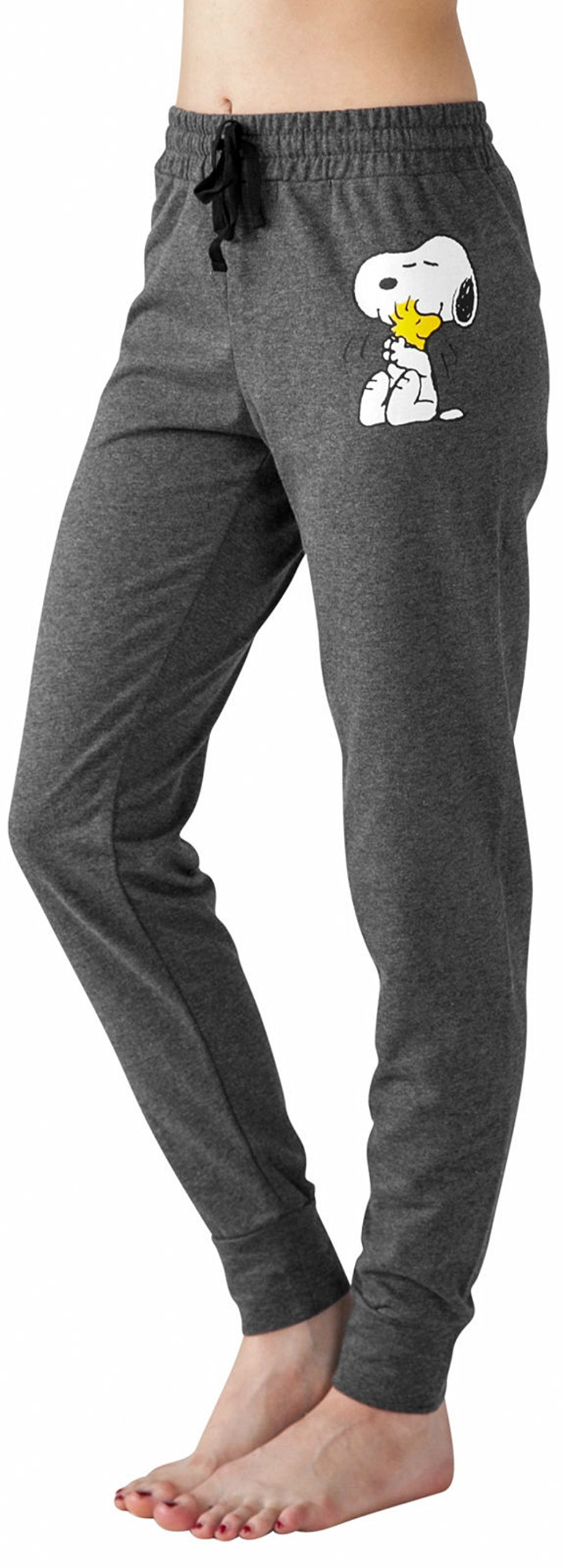 Peanuts Snoopy Charlie Brown Woodstock Women's Juniors Jogger Pant Legging Yoga Pants Grey (Large, Snoopy Woodstock)