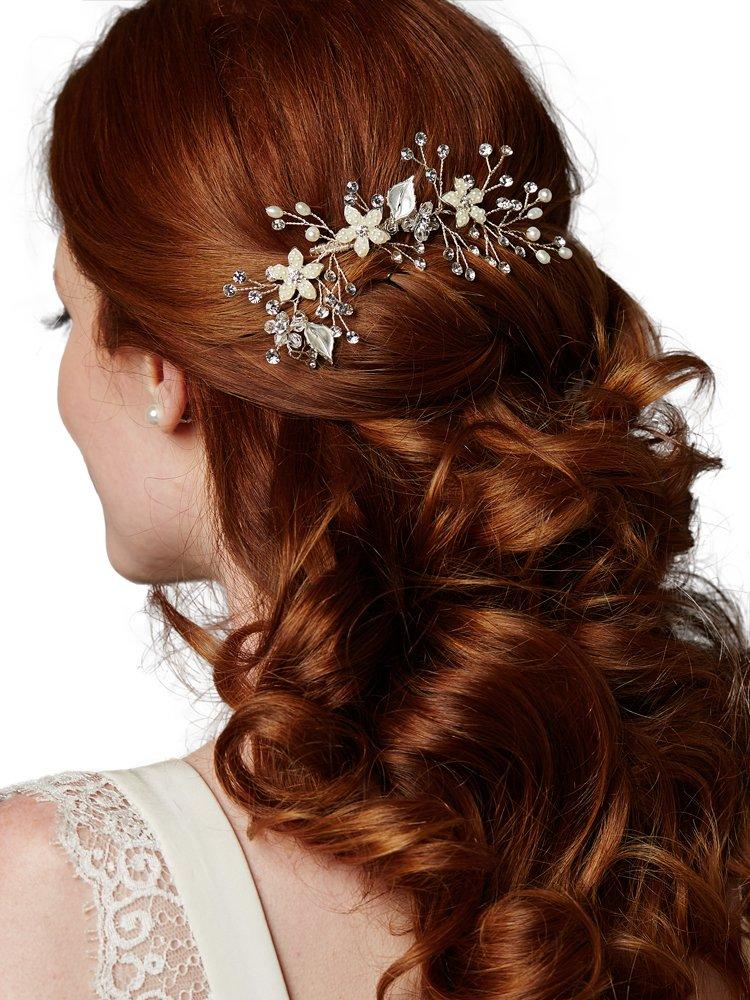 日本初の Bridal Hair B01I5VZ3AW Leaves, Comb Sprays with Hand Painted Silver Leaves, Freshwater Pearls and Crystals Sprays B01I5VZ3AW, 美容室専売品のナカノザダイレクト:7a3c8b5f --- movellplanejado.com.br
