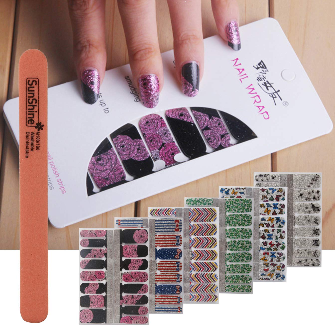 WOKOTO 6Pcs Nail Wraps For WomenSticker Nails With 1Pc Nail File Kit Full Nail Tips Stickers Wraps For Nails