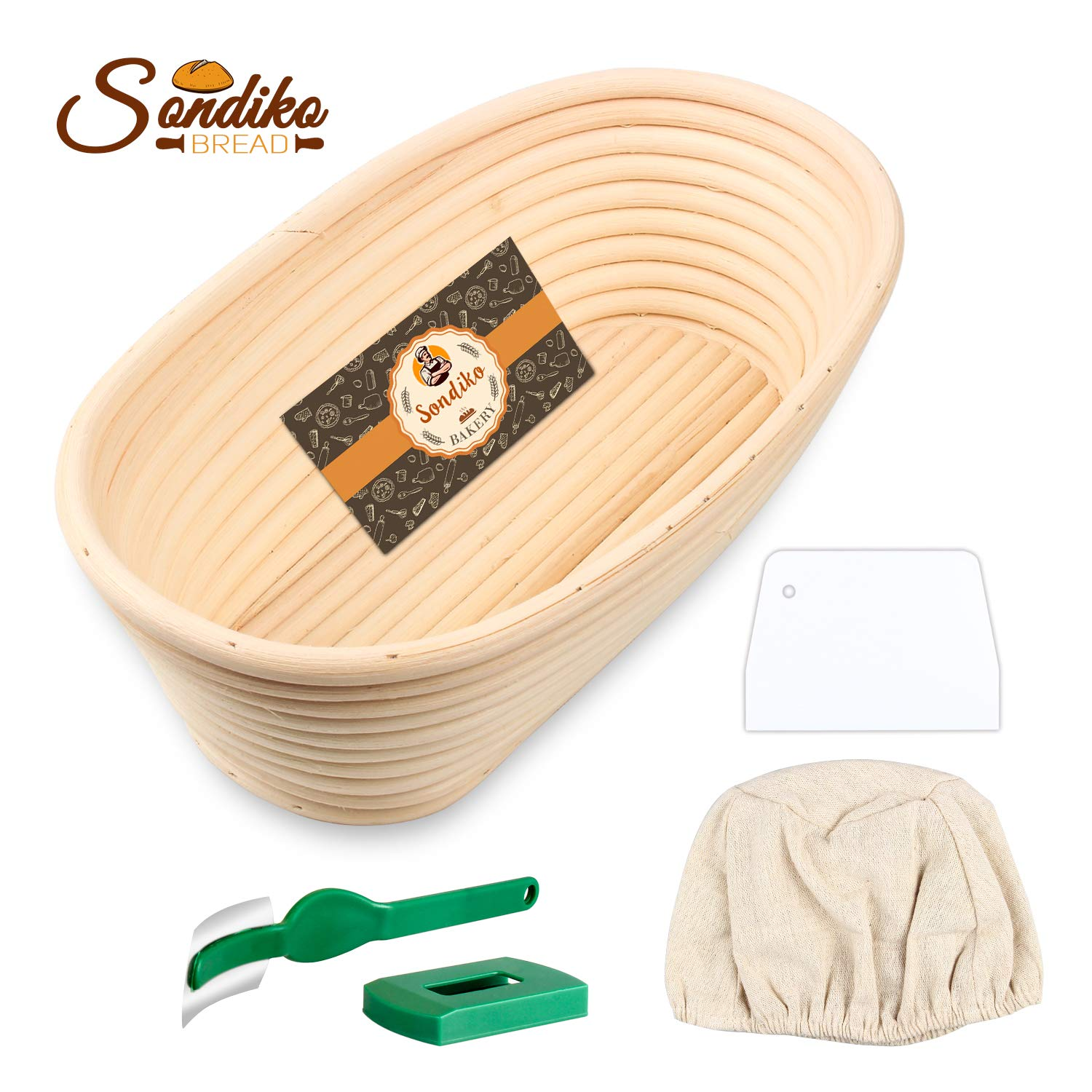 Sondiko Oval Bread Proofing Basket, Handmade Banneton Bread Proofing Basket Brotform with Bread Lame, Dough Scraper, Proofing Cloth Liner for Sourdough Bread, Baking(9.6 x 6 x 3 inches) by Sondiko