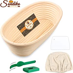 Sondiko Oval Bread Proofing Basket, Handmade Banneton Bread Proofing Basket Brotform with Bread Lame, Dough Scraper, Proofing Cloth Liner for Sourdough Bread, Baking(9.6 x 6 x 3 inches)