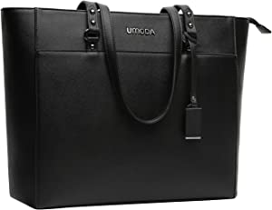 15.6 Inch Briefcase for Women, Laptop Tote Bag Bottom with 4 Metal Feet, Multi Function Stylish Work Tote Bags for Women, Black