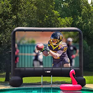 VIVOHOME 20 Feet Indoor and Outdoor Inflatable Blow up Mega Movie Projector Screen with Carry Bag for Front Projection