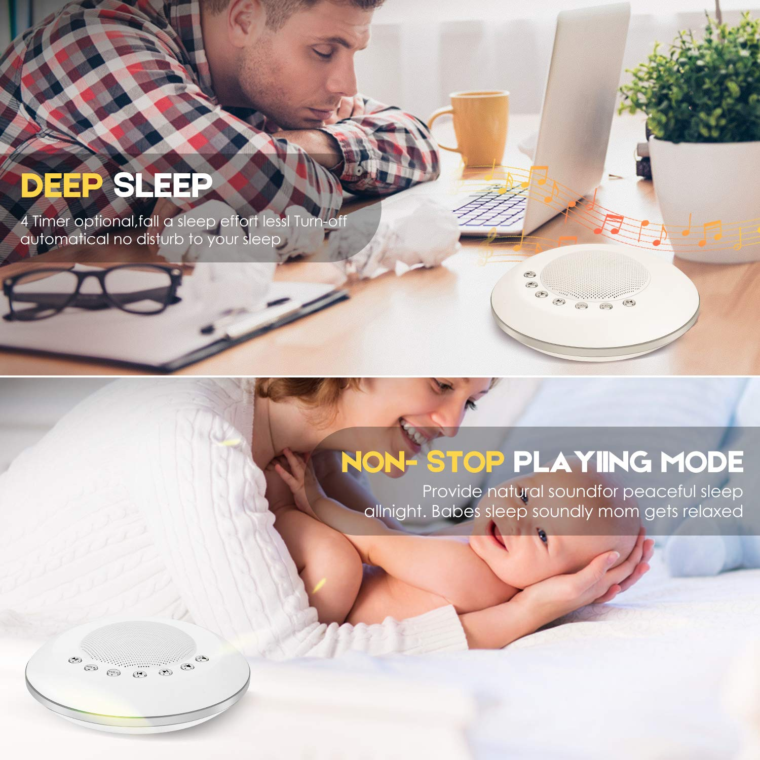 Sound Machine - White Noise Machine for Sleeping, with LED Colorful Night Light 20 Soothing HiFi Sounds, Continuous or Timer, Rechargeable Battery or USB Output Charger by EliveBuy (Image #4)