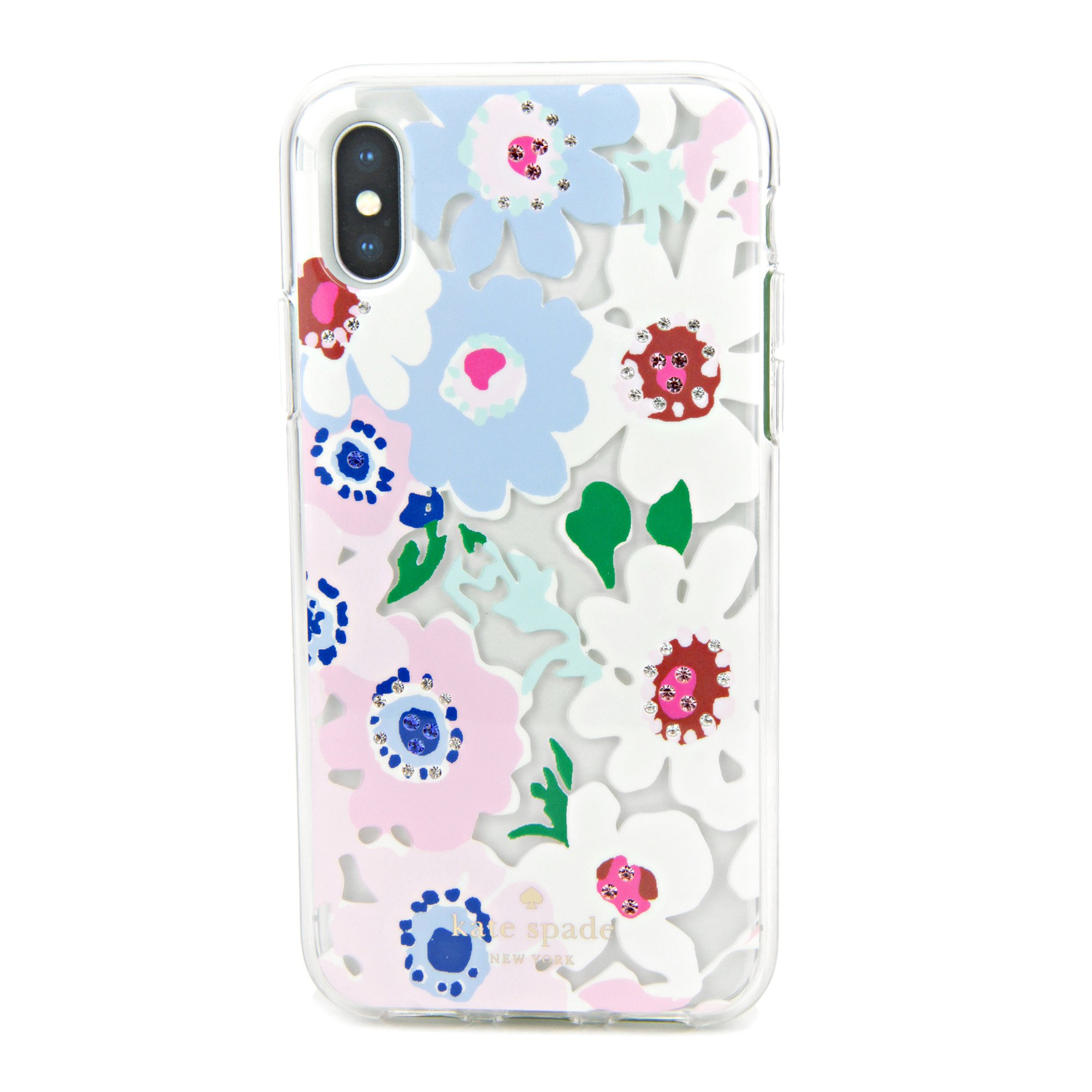 Kate Spade New York Women's Jeweled Daisy Garden Clear Phone Case for iPhone X Clear Multi One Size
