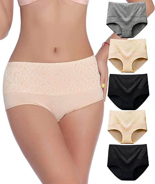 SEXYWG 5 Pack Womens Soft Cotton Underwear Stretch Briefs Knickers High Waist Breathable Panties