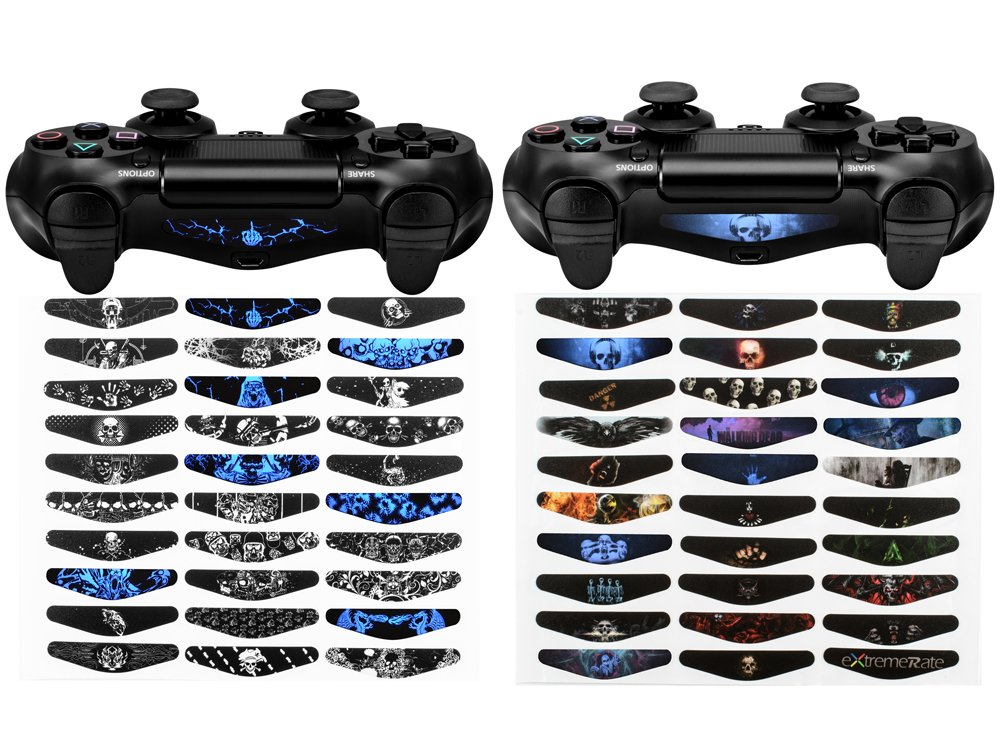 eXtremeRate 60 Pcs/Set Custom Color Scary Ghost Light Bar Sticker Decals for PlayStation 4 PS4 PS4 Slim PS4 Pro Remote Controller Cover Skins