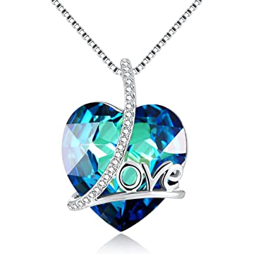 DRMglory Big Love Letter Heart Necklace - Heart Crystal from Swarovski - Women Pendant Necklace - Jewelry Gift for Mother Elder Friend