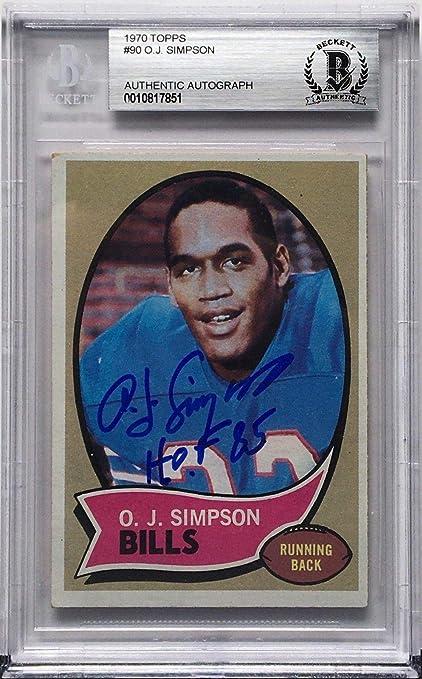 Oj Simpson Signed 1970 Topps 90 Rookie Card Rc Buffalo