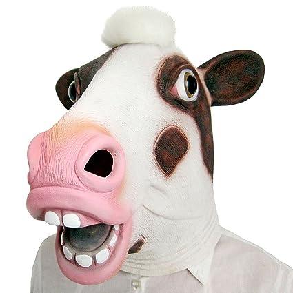 Qiancheng Halloween Máscara de Látex, Diseño de Vaca de Disfraces Disfraz Animal Máscaras