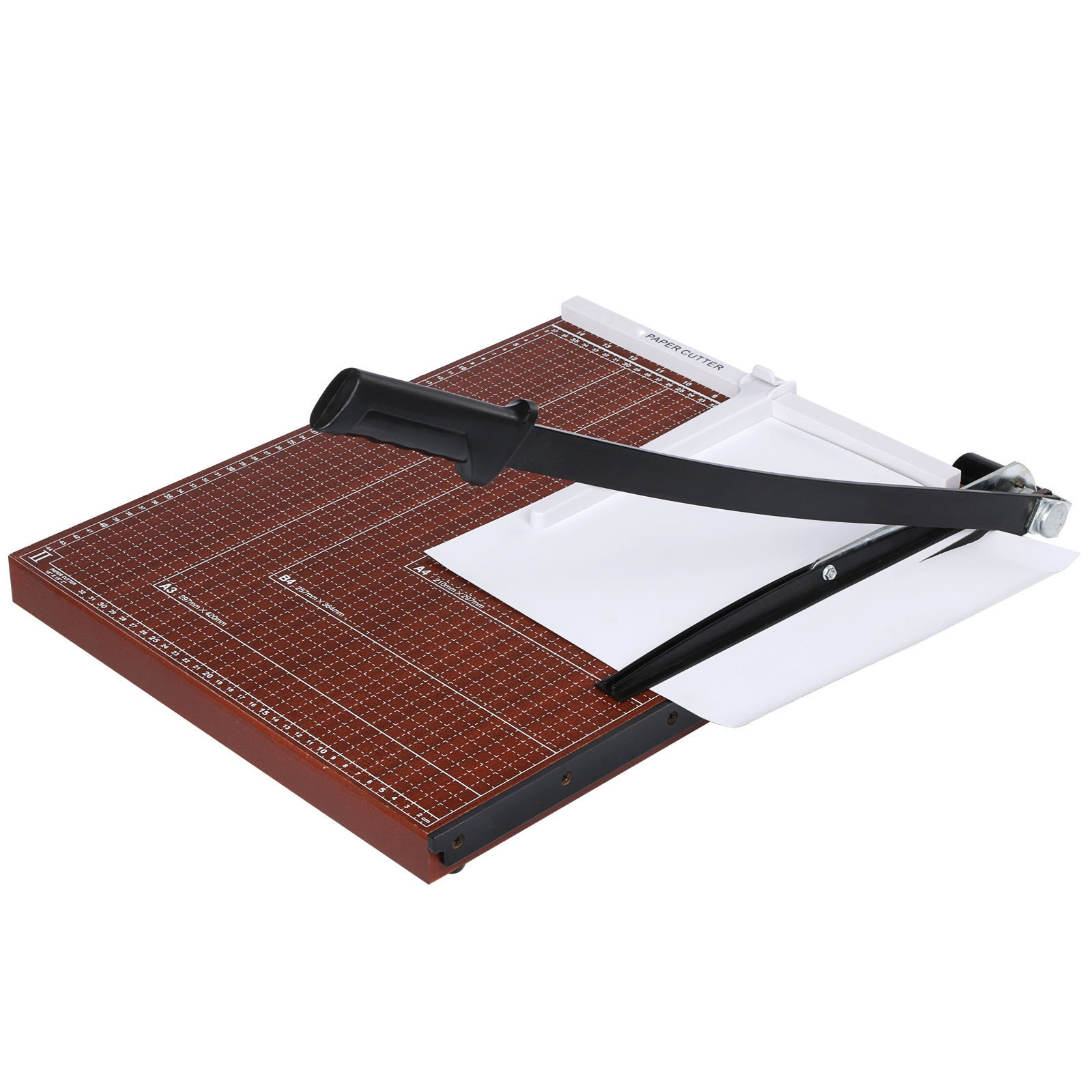 New Wooden Professional A2-B7 Paper Cutter Guillotine Style 18''x15'' Trimmer 12 Sheets Capacity Scrap Machine For Home Office Brown US Stock
