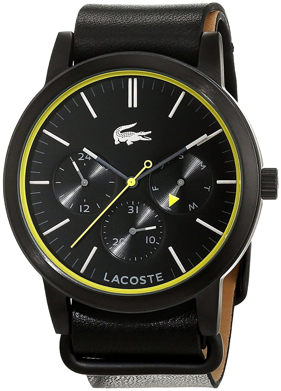 Steel Metro Black Quartz Date Of Watch Week Lacoste Pvd Day Mens 1cTlFJK