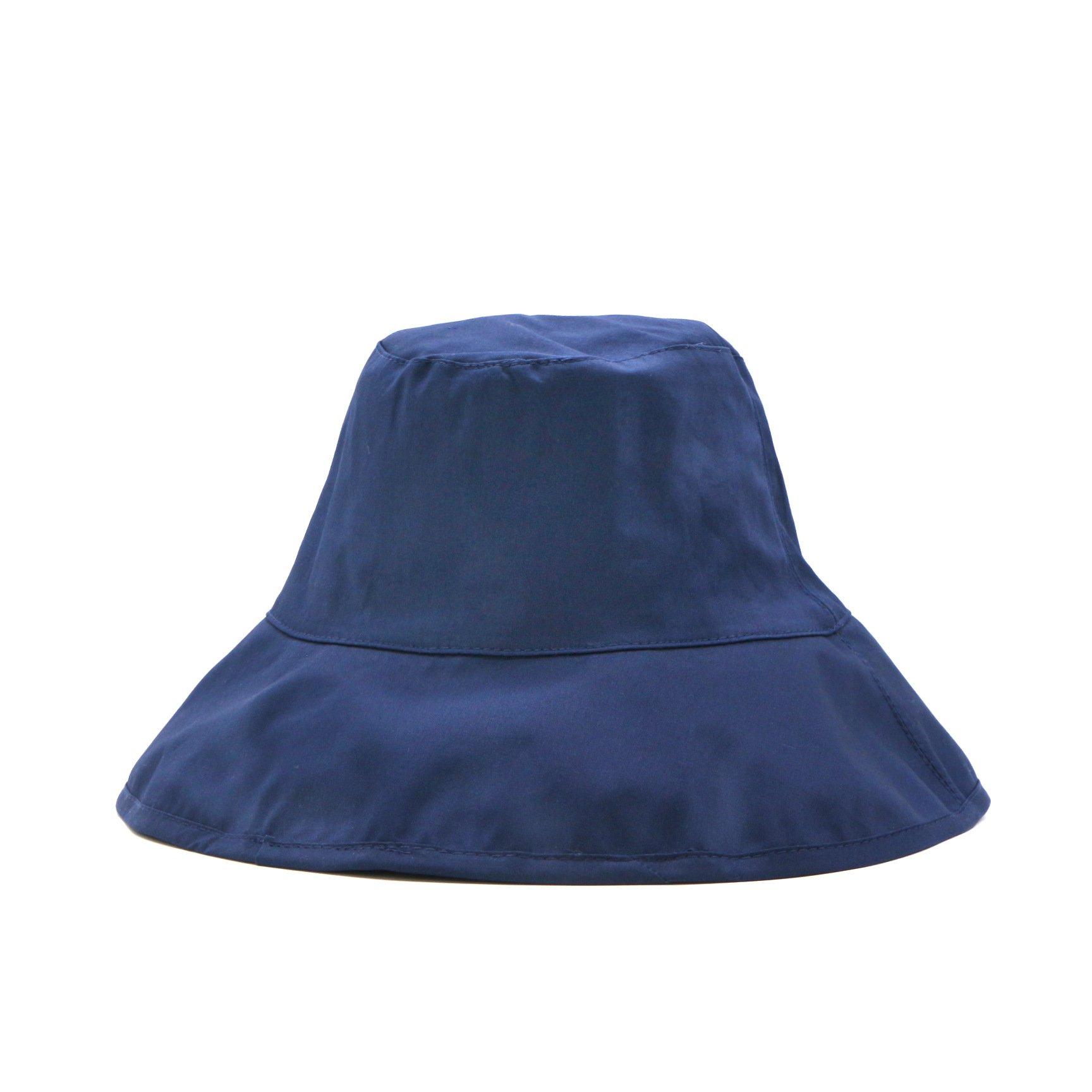 Women's Outdoor UPF50+ Sun Hat Cotton Linen Packable Bucket Boonie Wear Beach Daily Blue