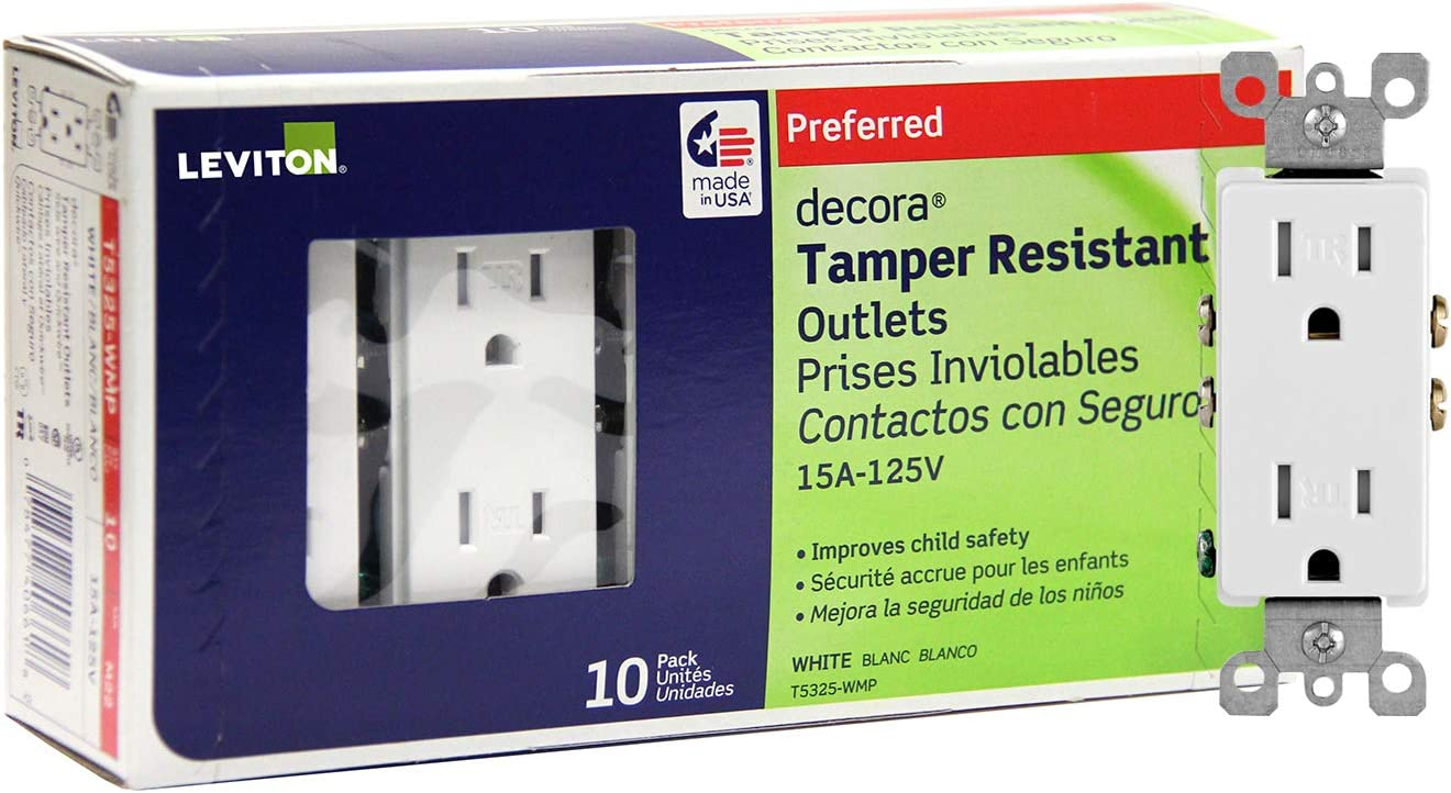 Leviton T5325-WMP 15 Amp 125 Volt, Tamper Resistant, Decora Duplex Receptacle, Straight Blade, Grounding, 10-Pack, White M22-Straight, 125 V, 2 Pole, 3 Wire, 10 pack, 10 Piece - -