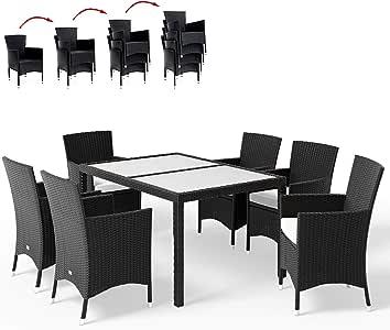 Deuba Conjunto de sillas y Mesa de poliratán Negro 6+1 sillas apilables Cojines de 7cm de Grosor Set de jardín terraza: Amazon.es: Jardín