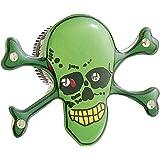 Lunartec Blinkende Anstecker: Blink-Pin mit LED & Magnetclip grüner Totenkopf (LED Anstecker)