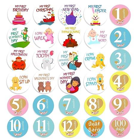 Hifot pegatinas mensuales bebe 28 piezas bebé fotografía accesorios pro, Recuerdo Milestone de Niña Niño para Baby Shower y Cumpleaños