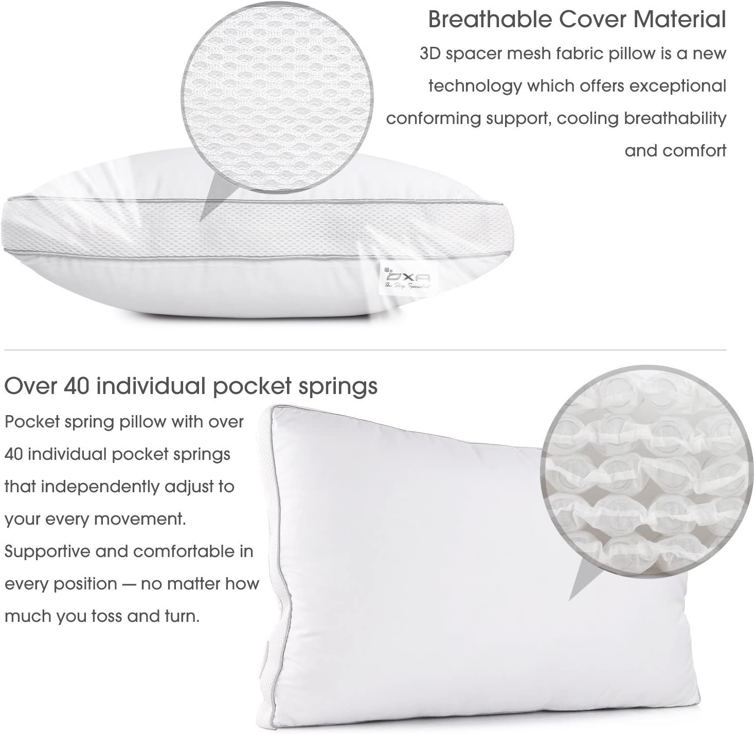 Luxurious Queen Breathable Bed Pillows for Sleeping OXA Spring Contour Pillow Firm and Soft with Extra Filling Relieving Neck and Back Pain with 40 Independent Pocket Coils