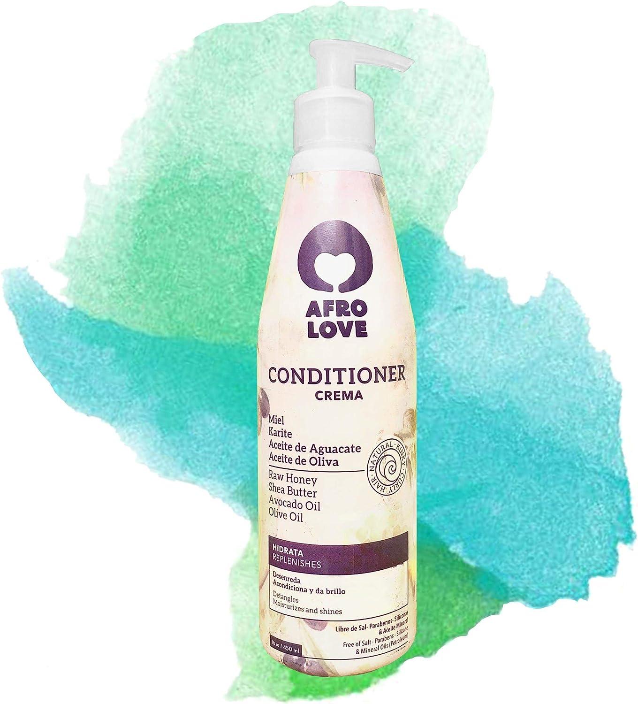 Afro Love acondicionador sin siliconas sin sulfatos sin parabenos para cabello rizado 290ml con miel pura, manteca de karité, aceite de aguacate y aceite de oliva, Vegano, Cruelty free