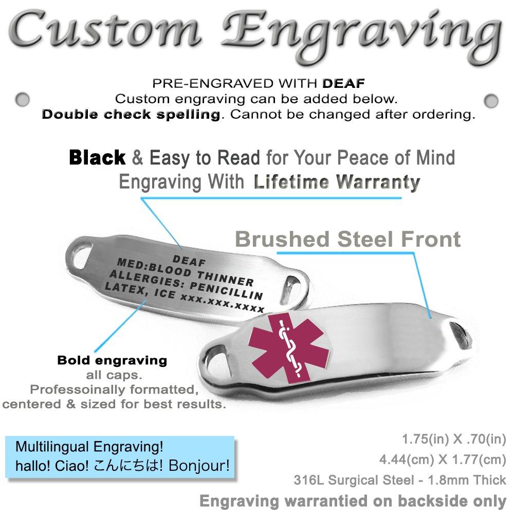 My Identity Doctor Purple Millefiori Glass Pre-Engraved /& Customizable Deaf Medical Alert Bracelet Pattern