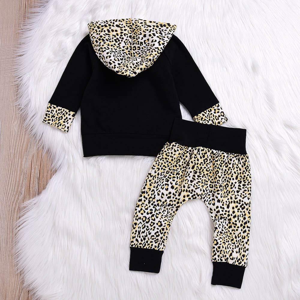 Hosen 0-24 Monate Babykleidung Satz LANSKIRT Kleinkind Infant Baby Outfits Set Jungen M/ädchen Leopard mit Kapuze Pullover Oberteile