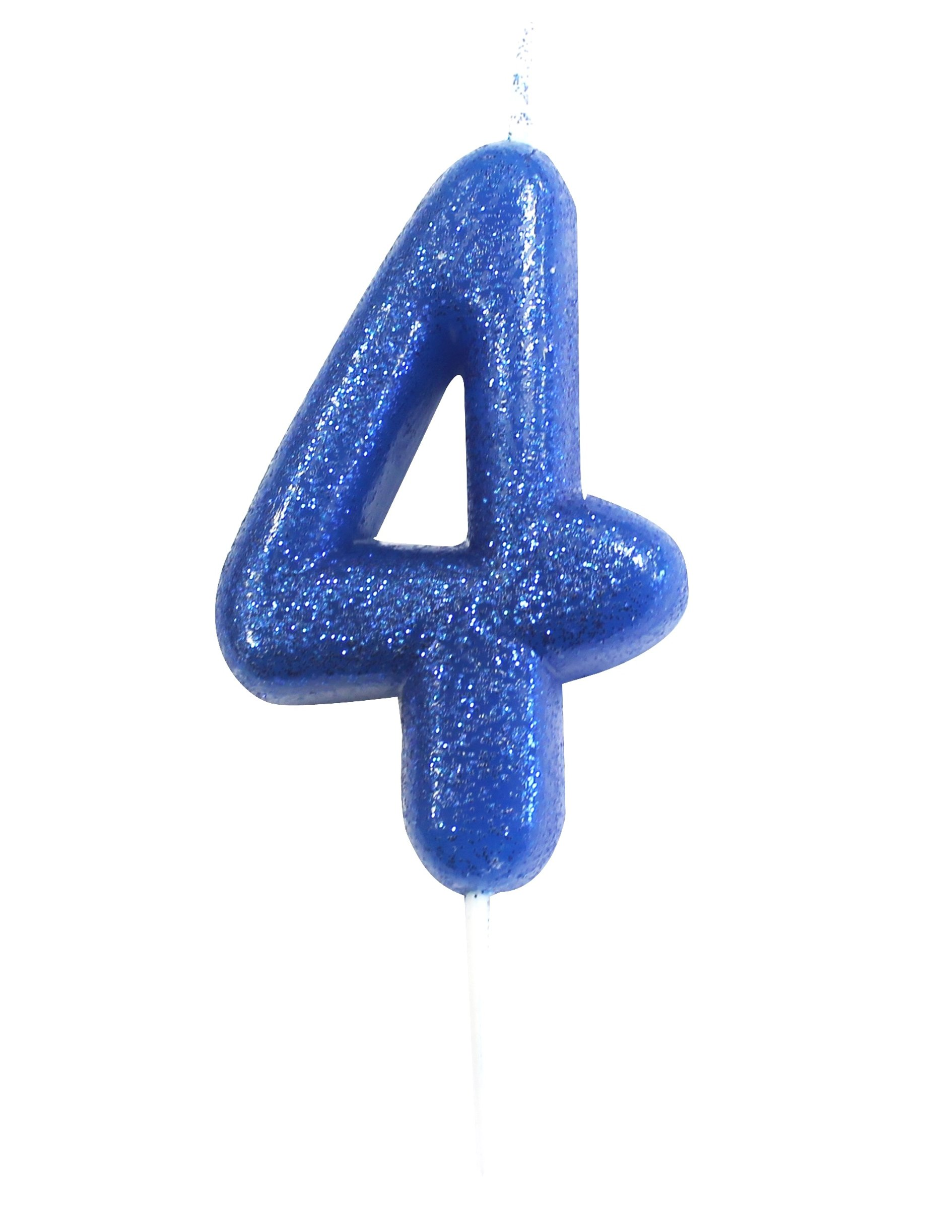 Anniversary House Age 4 Glitter Numeral Moulded Pick Candle Blue