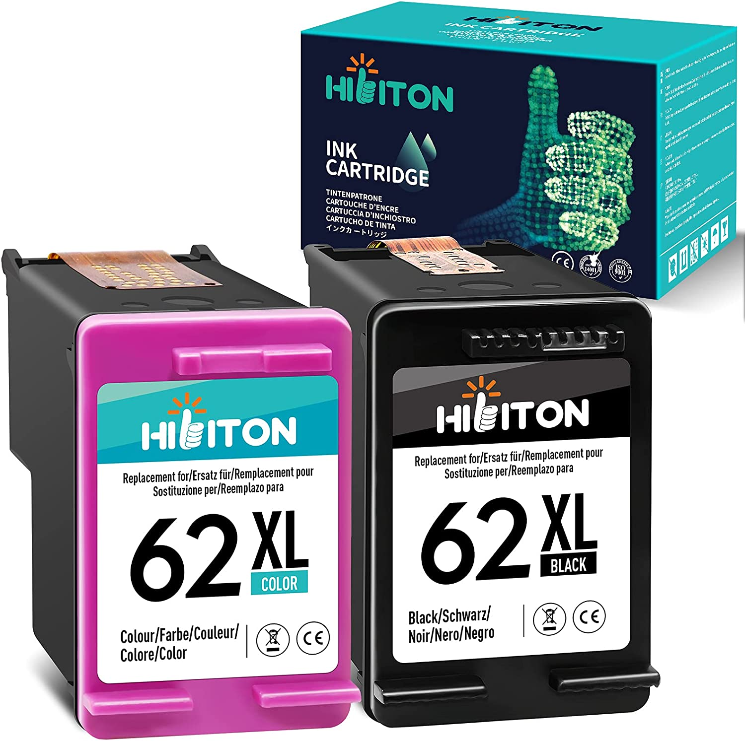 HibiTon Remanufactured Ink Cartridge Replacement for HP 62XL 62 XL Work with Envy 7640 5660 5540 5661 5642 5640 5640 5663 5544 5542 5549 OfficeJet 5740 250 5745 5746 Printer (Black,Tri-Color) 2 Pack