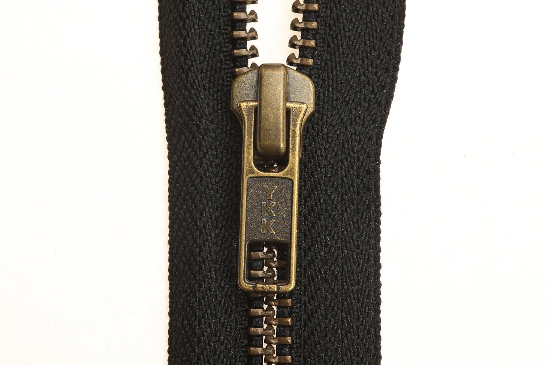 YKK Open End Zip - Black Tape - Antique Metal Tooth/Finish - Heavy Duty - Hd-3-6/7/8/9/11/16/17/18/19/20/21/22/23/24/25/26/27/28/29/30/31/32/33/34/35/36/37/38/39/40 Inch (22 Inch (56 cm)) Black