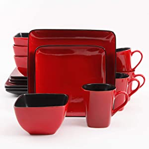 Better Homes and Gardens Rave 16-Piece Square Dinnerware Set, Red