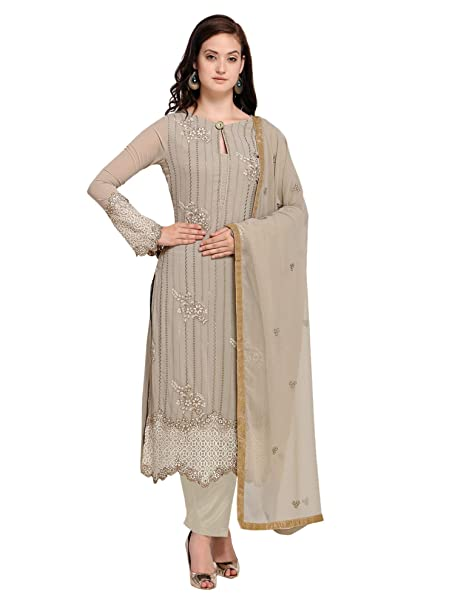 32a2a8d320b0 AKHILAM Women s Georgette Embroidered Semi Stitched Salwar Suits Salwar Suit  Material Set (Grey Free Size)  Amazon.in  Clothing   Accessories