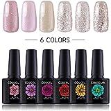 COSCELIA 6pcs Soak Off Gel Nail Polish Set UV LED Gel Nail Polish Colour Nail Art Set