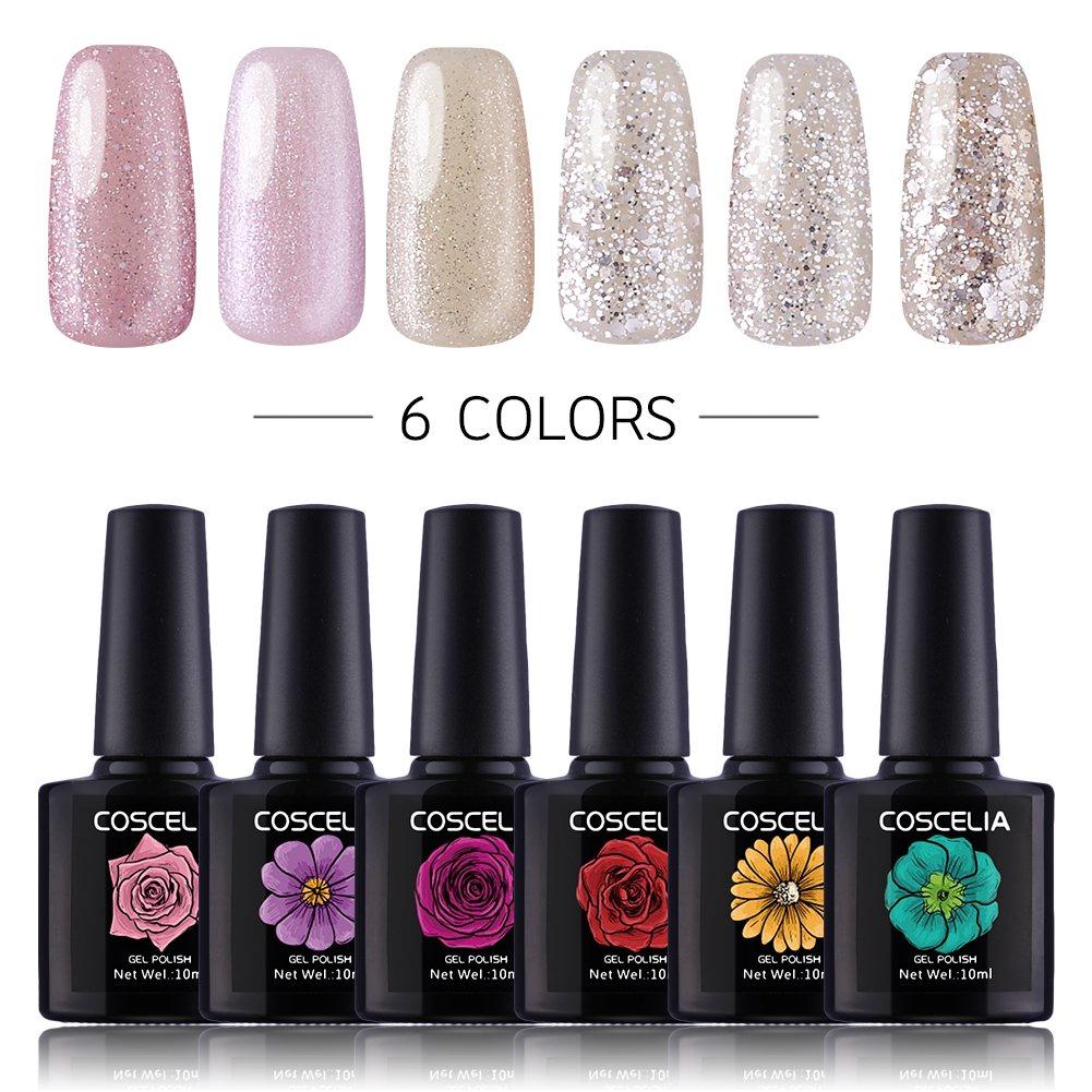 Amazon.com : Coscelia 6 Pcs Soak Off Gel Nail Polish Set White Pink ...