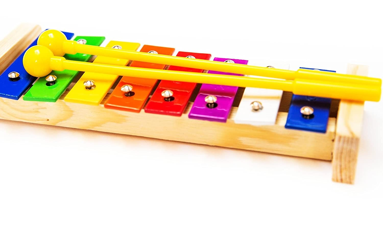 Cymbales 26 pièces Tambourins à poignée Gu Œufs Shaker Tambourin Traditionnel Instruments de Musique pour Enfants et Sac de Transport pour Éveil Musical ou Montessori Maracas Ensemble de Percussions en Bois avec Xylophone Triangle Castagnettes