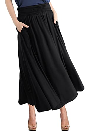 d0cd89836f1d76 TRENDY UNITED Women's High Waist Fold Over Pocket Shirring Skirt  ,Black-ankle,Small