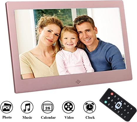 Video//Music//Calendar//Clock//E-Book Player Remote Control,Gold USB and SD Card Slots YP 10 Inch Digital Photo Frame HD LED Picture Frame with Electronic Picture