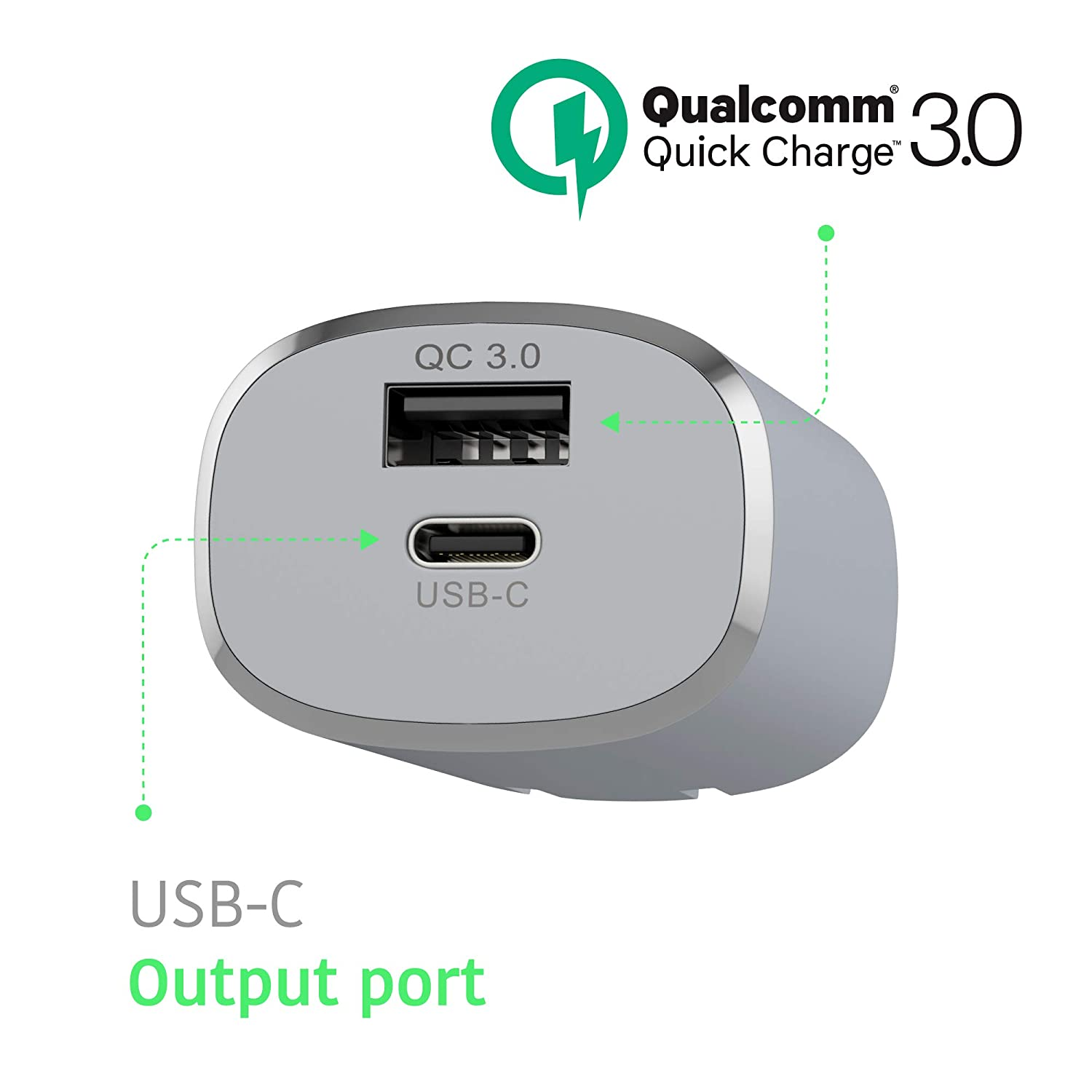 USB Wall Charger by TalkWorks   17W/3.4A   Dual USB Port (Type C & QC3.0) Fast Phone Charger with 6ft USB C Cable for Samsung Galaxy, Note, Google ...