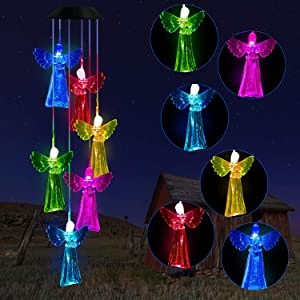 Solawindchime Angels Wind Chimes, Color Changing Angel Wind Chime, Waterproof Solar Angel Lights, Romantic Solar Powered Angels Wind Chime, Home, Yard, Outdoor Garden Decoration Gifts, Gifts for Women