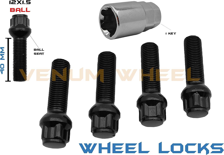 M12x1.5 40 MM Shank Chrome 5 Pc Mercedes Benz W208 Wheel Locks Lug Bolts Compatible With 1997-2002 CLK 320 Cabrio CLK36 CLK43 AMG CLK430 Cabrio CLK55 W//Factory Wheels Ball Seat