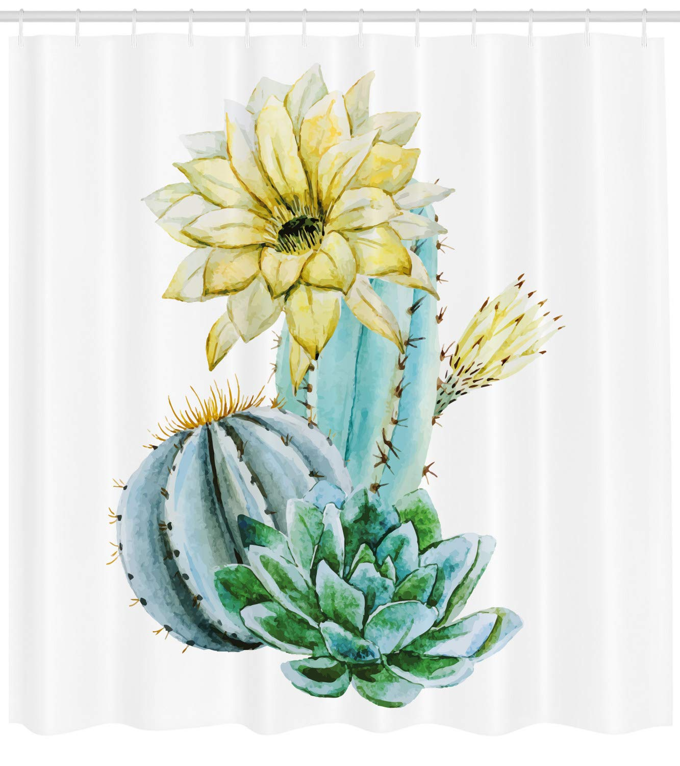 Ambesonne Succulent Shower Curtain By Watercolor Style Cactus Composition Exotic Climate Flora Art Fabric Bathroom Decor Set With Hooks 70 Inches