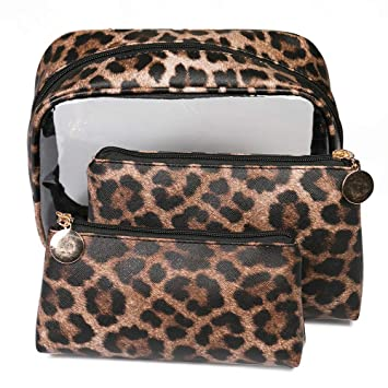 d84141bdd6 Amazon.com   Joyful 3pcs Leopard Print Cosmetic Bag Waterproof Transparent Makeup  Bag Travel Cosemtic Bag Organizer Storage Toiletry Bag (Style C)   Beauty